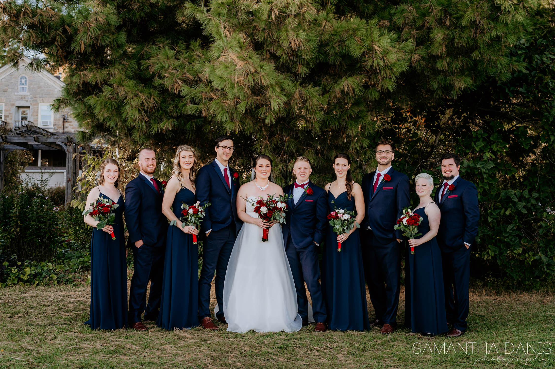 Bridal Party in gardens at strathmere Ottawa Wedding