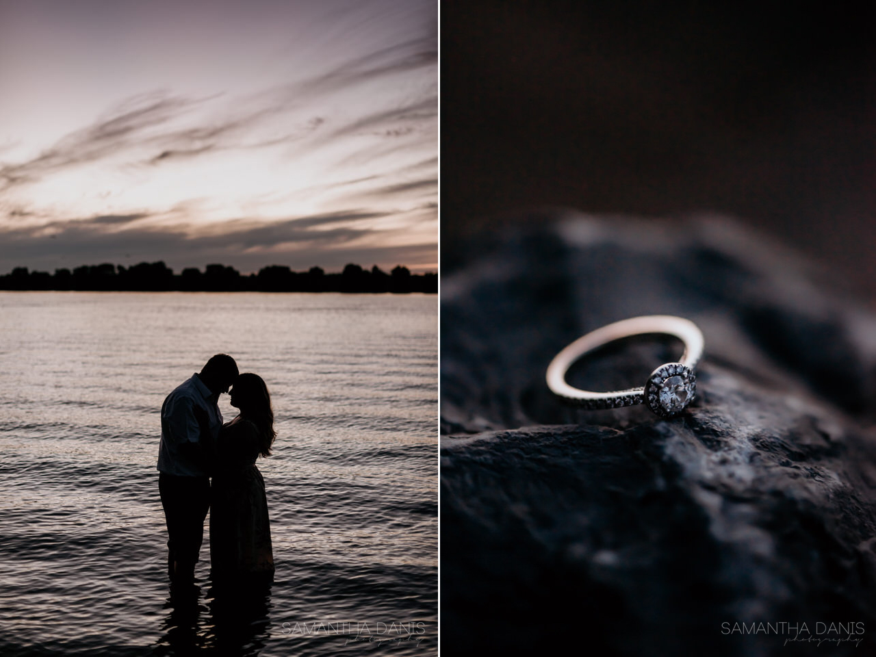 Engagement session Petrie Island at dusk. Ottawa Couple in the River during their beautiful session with Samantha Danis Photography