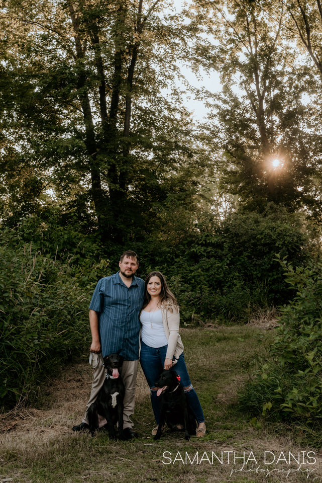 Engaged couple two dogs great dane and labrador family photo Ottawa