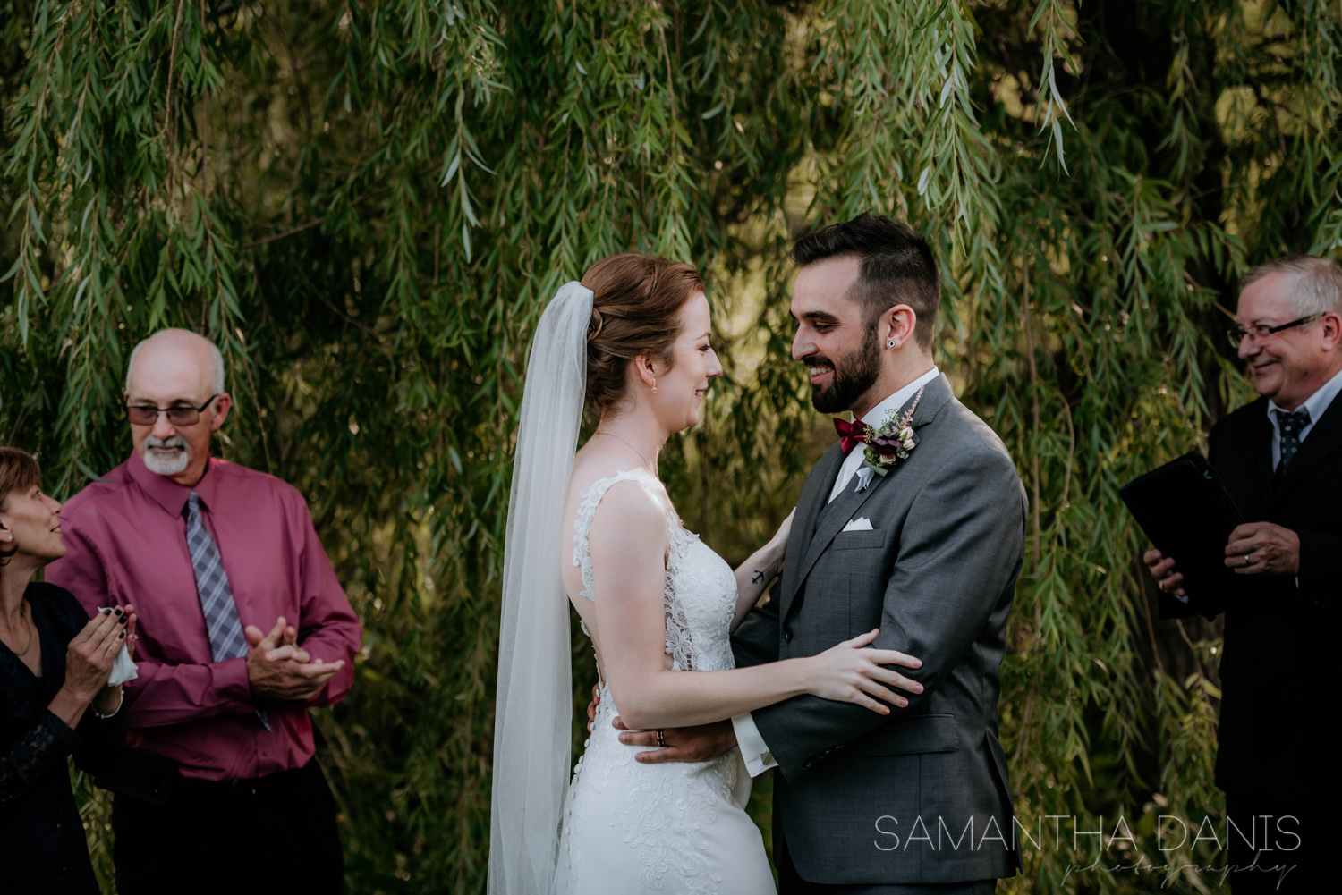 that first look you give each other afte rbeing pronounced husband and wife. Ottawa Wedding Photographer.