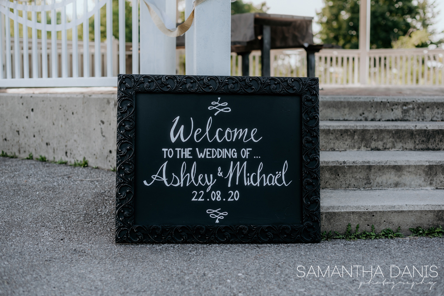 Local handmade calligraphy sign for a elopement at Ottawa's Walter Baker Park photographed by Samantha Danis Photography
